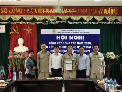 Công đoàn Công ty Thủy điện Tuyên Quang tổ chức hội nghị tổng kết công tác năm 2020, sơ kết thực hiện nghị quyết Đại hội Công đoàn